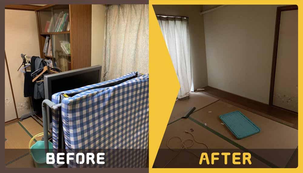 大量の家財道具(折り畳みベッド、こたつ、タンス、テレビ、ソファー、冷蔵庫、パイプ椅子)の処分にお困りのお客様からご依頼いただきました。