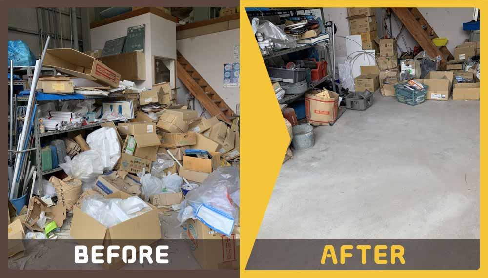 倉庫内にある産業廃棄物等の処理にお困りのお客様からご依頼いただきました。